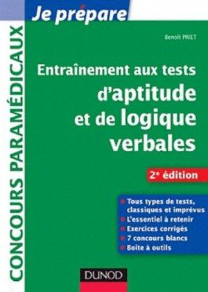 Entraînement aux tests d'aptitude et de logique verbales - dunod - 9782100563784 -