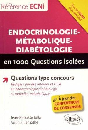 Endocrinologie-métabolique-diabétologie en 1000 questions isolées - ellipses - 9782340018327 -