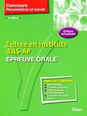 Entrée en instituts d'AS-AP Épreuve orale - vuibert - 9782711738168 -