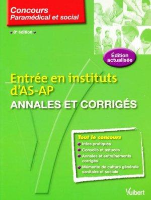 Entré en instituts d'AS-AP Annales et corrigés - vuibert - 9782711738595 -