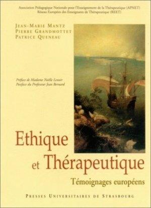 Ethique et thérapeutique. Témoignages européens - Presses universitaires de Strasbourg - 9782868200181 -