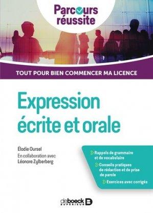 Expression écrite et orale - De Boeck - 9782807323568