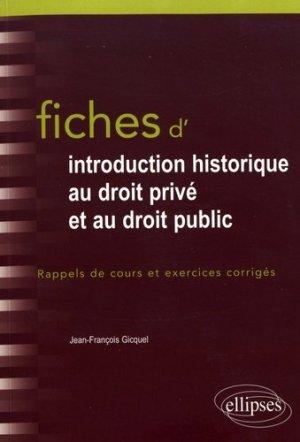 Fiches d'introduction historique au droit privé et au droit public. Du Ve siècle à l'époque contemporaine - Ellipses - 9782340018433 -