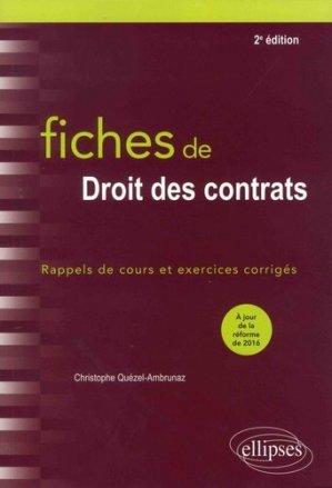 Fiches de droit des contrats. Rappels de cours et exercices corrigés, 2e édition - Ellipses - 9782340020436 -