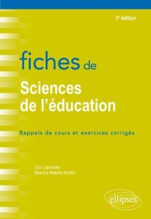 Fiches de sciences de l'éducation - Ellipses - 9782340022980 -