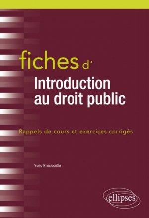 Fiches d'introduction au droit public - Ellipses - 9782340032842 -
