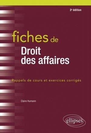 Fiches de droit des affaires. 3e édition - Ellipses - 9782340033672 -