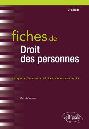 Fiches de droit des personnes - 3e édition - Ellipses - 9782340040175 -