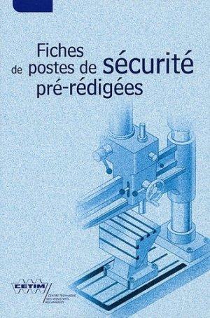Fiches de postes de sécurité pré-rédigées - Centre techniques des industries mécaniques - 9782854004854 -