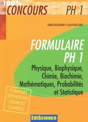 Formulaire PH 1 - ediscience - 9782100507795 -