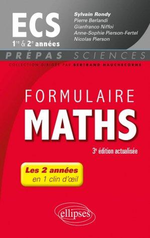Formulaire maths ECS 1e et 2e années - ellipses - 9782340016491