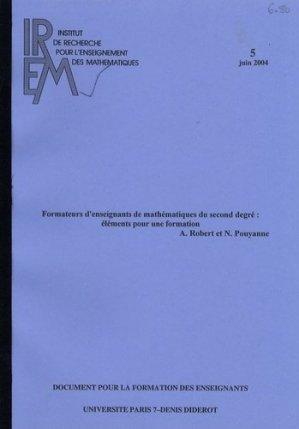 Formateurs d'enseignants de mathématiques du second degré : éléments pour une formation - IREM Paris - 9782866122577 -