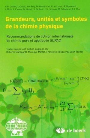 Grandeurs, Unités et Symboles de la Chimie Physique - de boeck superieur - 9782804172077 -