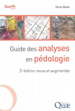 Guide des analyses en pédologie - quae - 9782759228362