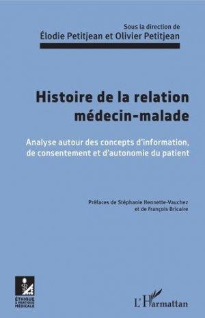 Histoire de la relation médecin-malade - l'harmattan - 9782343152387 -