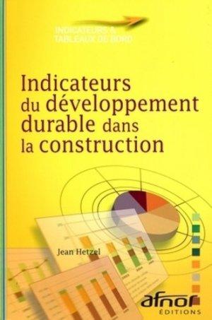 Indicateurs du développement durable dans la construction - afnor - 9782124651917 -