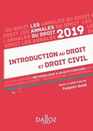 Introduction au droit et droit civil. Méthodologie & sujets corrigés, Edition 2019 - dalloz - 9782247178018 -