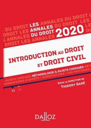 Introduction au droit et droit civil. Méthodologie & sujets corrigés, Edition 2020 - dalloz - 9782247188048 -