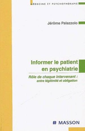 Informer le patient en psychiatrie - elsevier / masson - 9782294008504 -