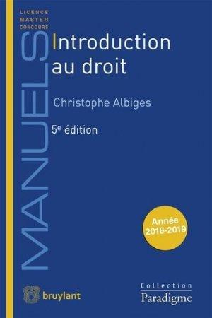 Introduction au droit. 5e édition - Bruylant - 9782390132059 -