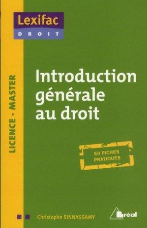 Introduction générale au droit - Bréal - 9782749535395 -