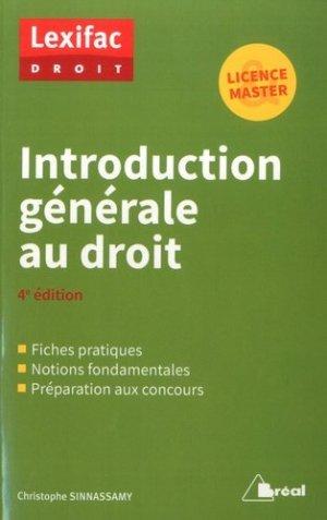 Introduction générale au droit. 4e édition - Bréal - 9782749539089 -
