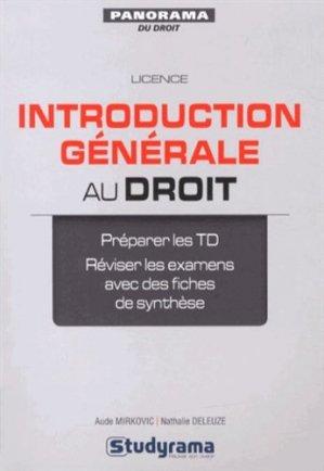 Introduction générale au droit - Studyrama - 9782759020263 -