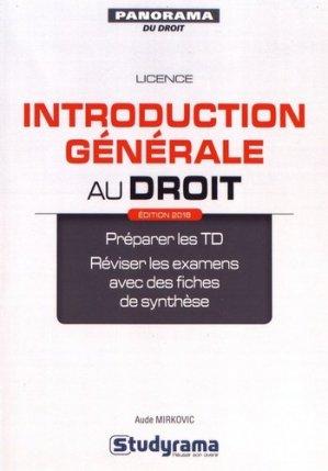 Introduction générale au droit. Edition 2018 - Studyrama - 9782759035946 -