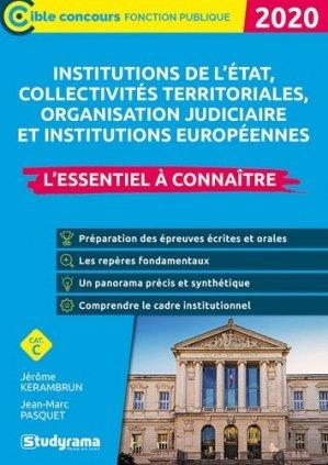 Institutions de l'état, collectivités territoriales, organisation judiciaire. Edition 2020 - Studyrama - 9782759042128 -