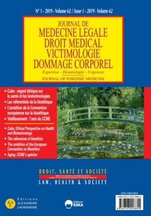 Journal de médecine légale Volume 62 N°1/2019 - eska - 9782747228855