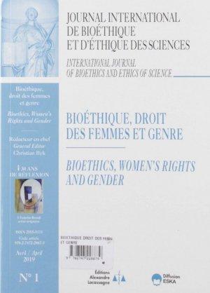 Journal International de Bioéthique Volume 30 N° 1 : Bioéthique, droit des femmes et genre - eska - 9782747228879 -