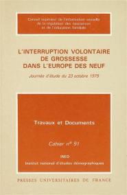 L'interruption volontaire de grossesse dans l'Europe des Neuf - Ined Éditions - Institut national d'études démographiques - 9782130409014 -