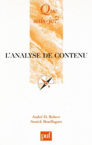 L'analyse de contenu - puf - presses universitaires de france - 9782130563839 -