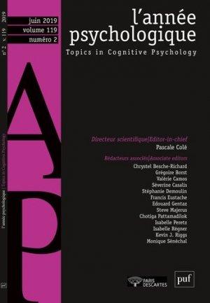 L'année psychologique 119-2 - puf - presses universitaires de france - 9782130821052 -