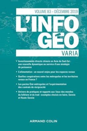 L'Information géographique (4/2019) Varia - armand colin - 9782200932558 -