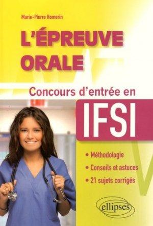 L'épreuve orale - Concours d'entrée en IFSI - ellipses - 9782340006126 -