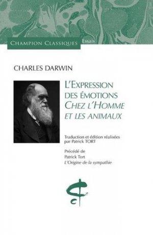 L'expression des émotions chez l'homme et les animaux - CHAMPION - 9782380960266 -