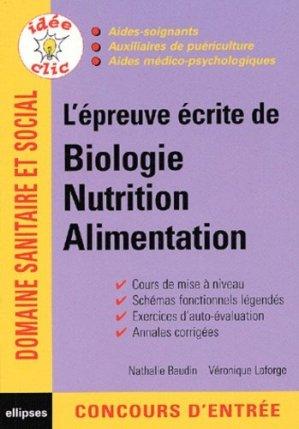 L'épreuve écrite de biologie nutrition alimentation - ellipses - 9782729815516 -