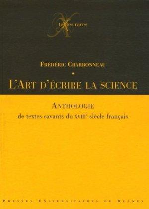 L'art d'écrire la science - presses universitaires de rennes - 9782753502475 -