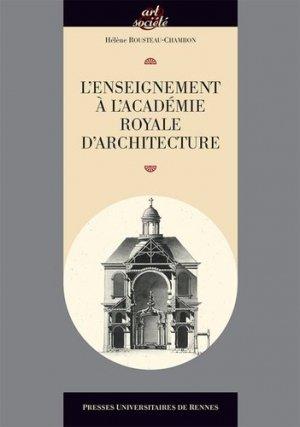 L'enseignement à l'Académie royale d'architecture - presses universitaires de rennes - 9782753551664 -