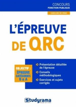 L'épreuve de QRC - Studyrama - 9782759019052 -