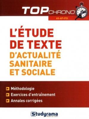 L'étude de texte d'actualité sanitaire et sociale - studyrama - 9782759036127 -