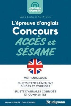 L'épreuve d'anglais aux concours accès et sésame - Studyrama - 9782759041169 -