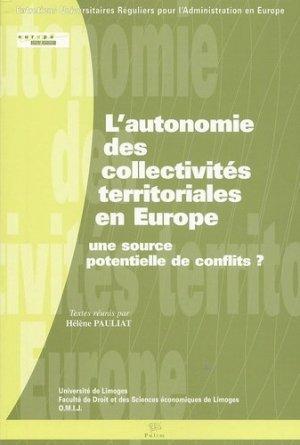 L'autonomie des collectivités territoriales en Europe : une source potentielle de conflits ? - presses universitaires de limoges - 9782842873295 - https://fr.calameo.com/read/000015856c4be971dc1b8