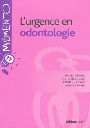 L'urgence en odontologie - cdp - 9782843610806 -