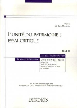 L'unité du patrimoine : essai critique - Répertoire Defrénois - 9782856231180 -
