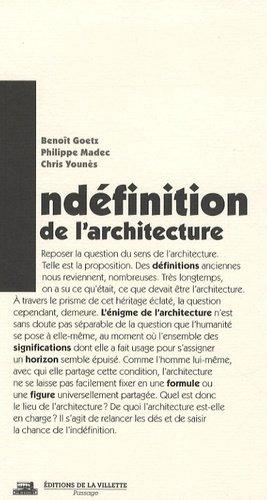 L'indéfinition de l'architecture - de la villette - 9782915456493 -