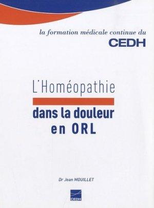 L'Homéopathie dans la douleur en ORL - cedh - 9782915668452 -