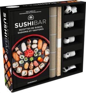 La box kawaï sushibar. Avec 5 paires de baguettes, 5 porte-baguettes, 1 natte en bambou - Marabout - 9782501142571 -