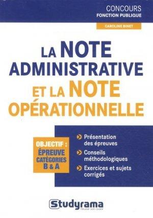 La note administrative et la note opérationnelle - Studyrama - 9782759019106 -